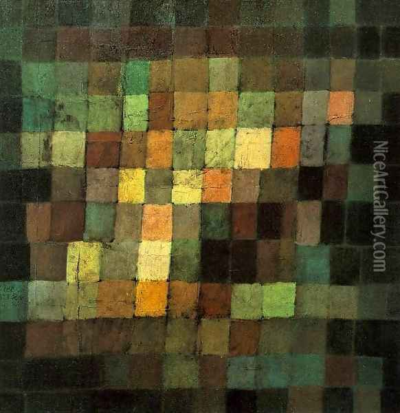 Ancient Sound, Abstract on Black Oil Painting - Paul Klee