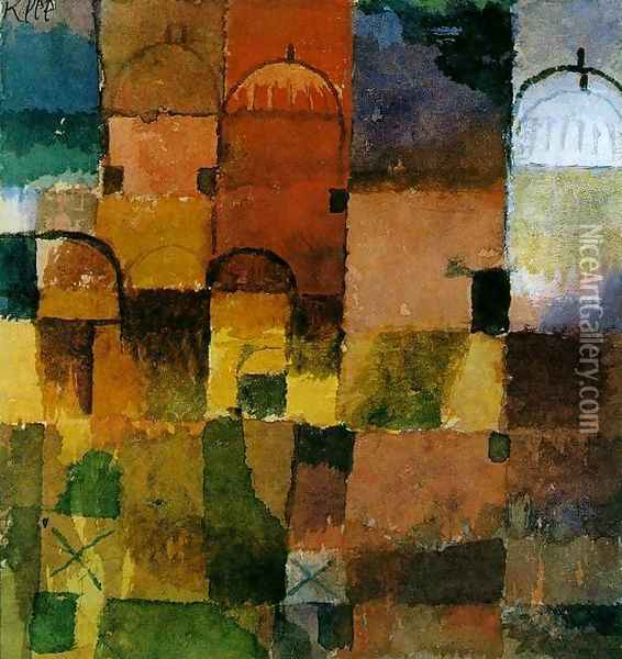Red and White Domes Oil Painting - Paul Klee