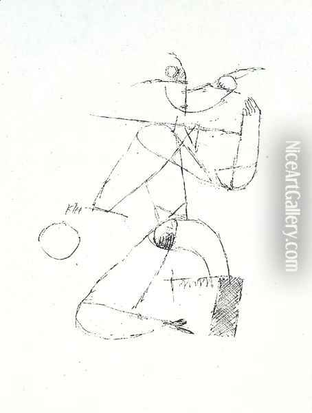 Kauerndes Madchen mit Ball Oil Painting - Paul Klee