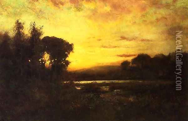 Wetlands at Sunset Oil Painting - William Keith