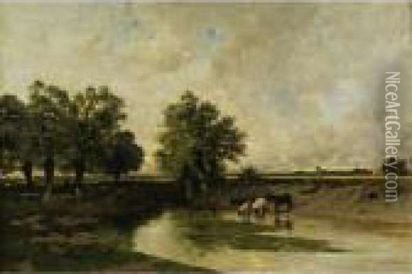 The Watering Place Oil Painting - Ciceri, Eugene