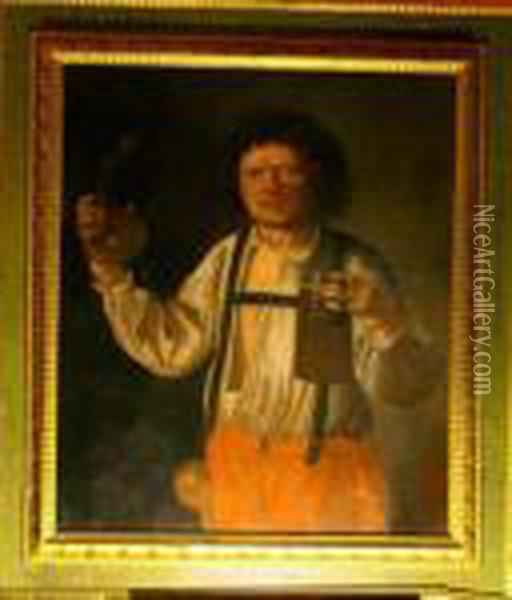 Portraitof A Man With A Glass Of Beer Cutrolf And A Pupmkin Oil Painting - Giacomo Francesco Cipper