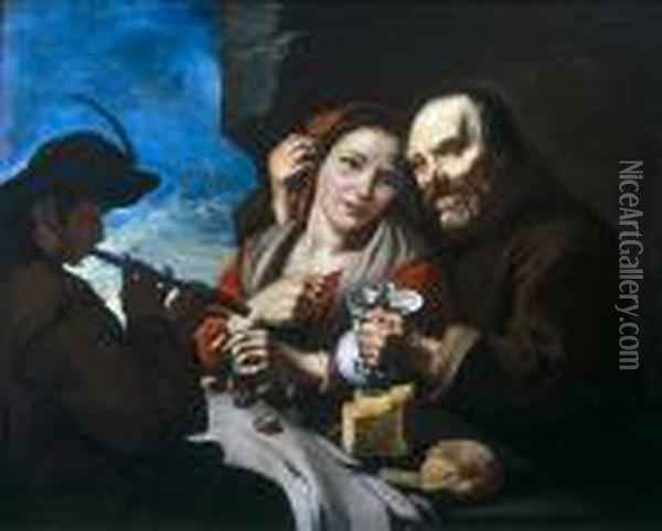 A Friar And Young Maid At A Table With A Piper Oil Painting - Giacomo Francesco Cipper