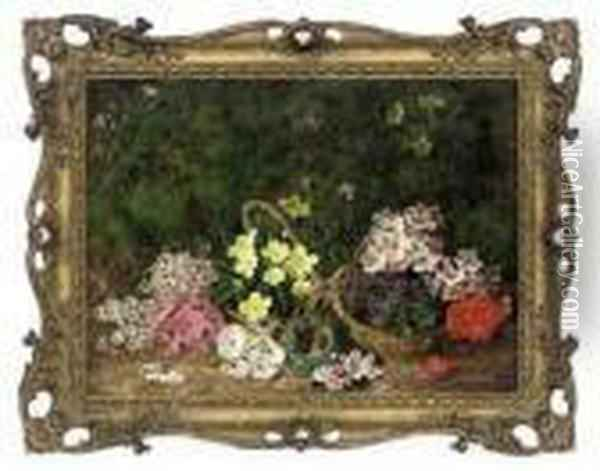 Primroses, Violets And A Bird's Nest On A Mossy Bank Oil Painting - George Clare
