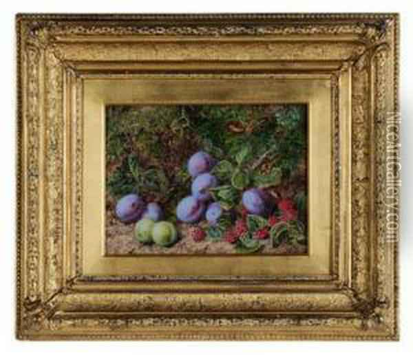 Still Life With Plums And Raspberries On A Mossy Bank Oil Painting - George Clare