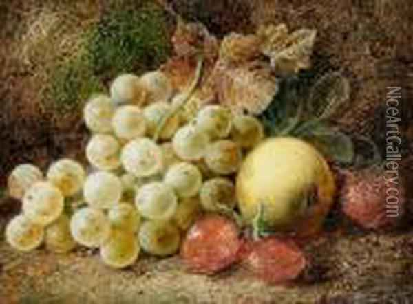 Still Life Of Pansies And Wildflowers; Stilllife Of Grapes, Apple And Strawberries Oil Painting - George Clare
