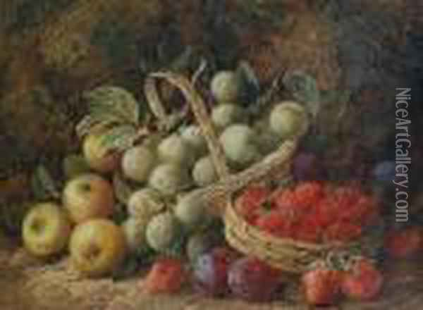 Still Life Of Summer Fruit In Baskets Oil Painting - George Clare