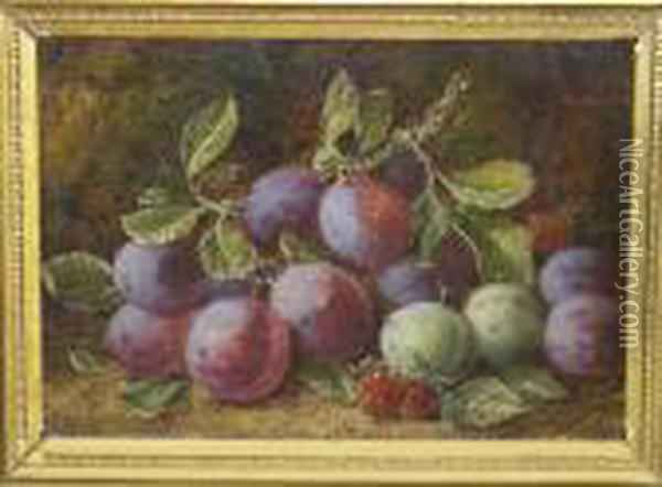 Still Life Of Plums, Greengages And Raspberries Against A Mossy Bank Signed Oil Painting - George Clare