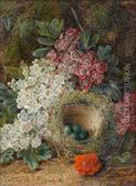 Fruit On A Mossy Bank; Flowers And A Bird's Nest On A Mossy Bank Oil Painting - George Clare