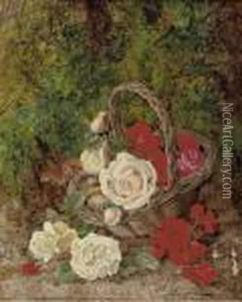 Roses And Geraniums In A Wicker Basket Before A Mossy Bank Oil Painting - George Clare