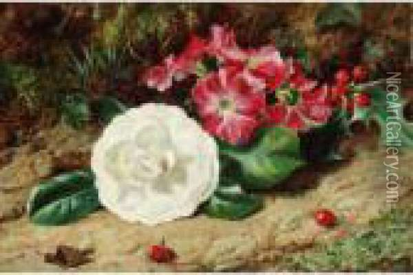 A Camelia On A Mossy Bank Oil Painting - George Clare