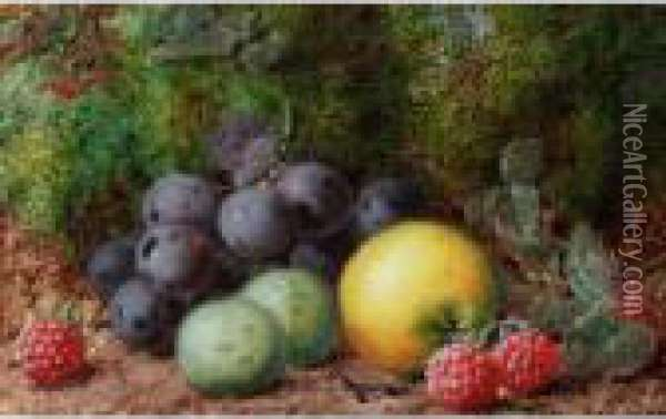 Still Life Of Fruit; Still Life Of Blossom And A Bird's Nest Oil Painting - George Clare