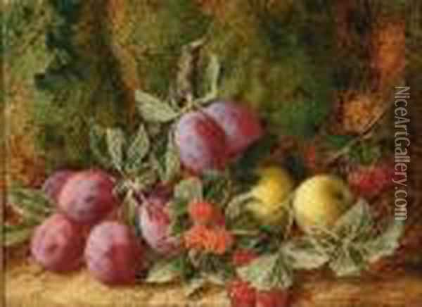 Still Life Of Fruit On A Forest Floor Oil Painting - George Clare