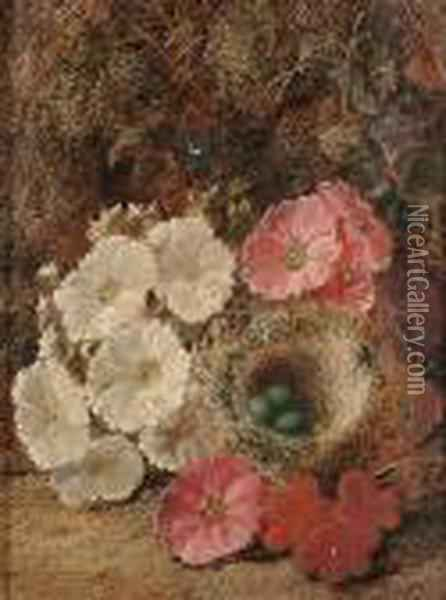 Still Life Of Flowers And A Birds Nest; Still Life Of Fruit On A Bank Oil Painting - George Clare