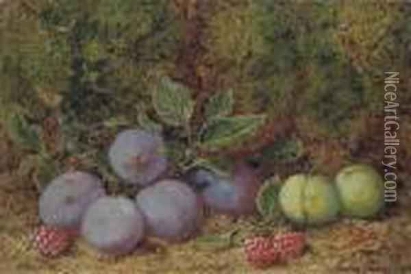 Plums, Raspberries And Greengages On A Mossy Bank Oil Painting - George Clare