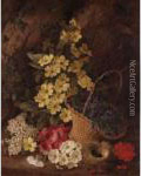 Still Life Of Flowers In Basket Oil Painting - George Clare