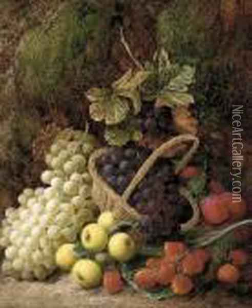 Strawberries, Apples, Plums, And Grapes In A Wicker Basket Oil Painting - George Clare