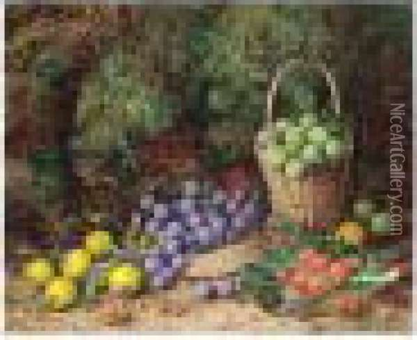 Still Life Of Grapes, Strawberries And An Apple On A Mossy Bank Oil Painting - George Clare