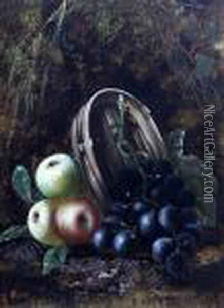 Still Life Of Fruit In A Basket, Together Withanother Similar, A Pair Oil Painting - Oliver Clare