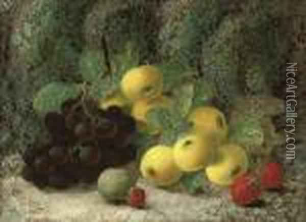 Grapes, Apples, Plum, Raspberries And Strawberries On A Mossybank Oil Painting - Oliver Clare