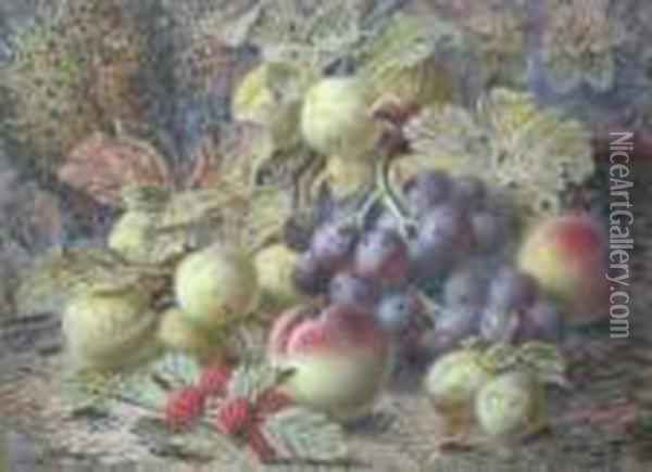 A Still Life Composition Of Grapes, Plums And Raspberries Oil Painting - Oliver Clare