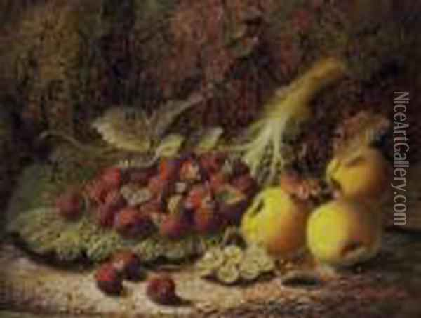 Still Life With Raspberries Oil Painting - Oliver Clare