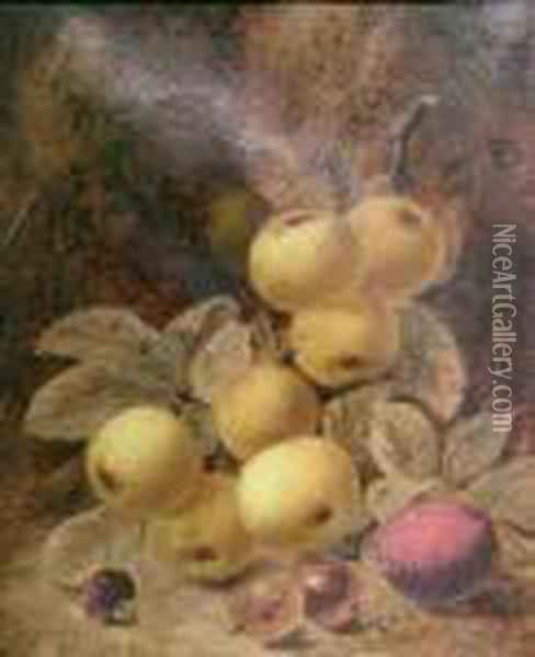 Fruit On A Mossy Bank Oil Painting - Oliver Clare