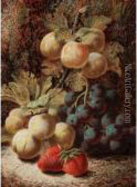Still Life With Plums, Grapes And Strawberries Oil Painting - Oliver Clare