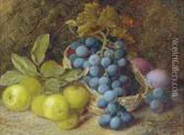 Grapes In A Basket, Apples And Plums On A Mossy Bank Oil Painting - Vincent Clare