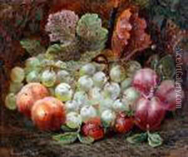 Still Life Of Grapes, Plums Andstrawberries Oil Painting - Vincent Clare