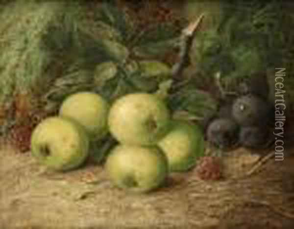 Still Life With Apples,  Grapes Andraspberries Oil Painting - Vincent Clare