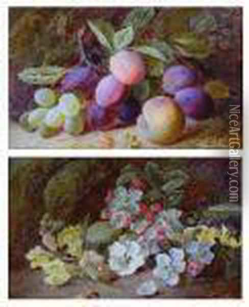 Green Grapes, Plums And A Peach; Dog Roses Andyellow Snapdragons Oil Painting - Vincent Clare