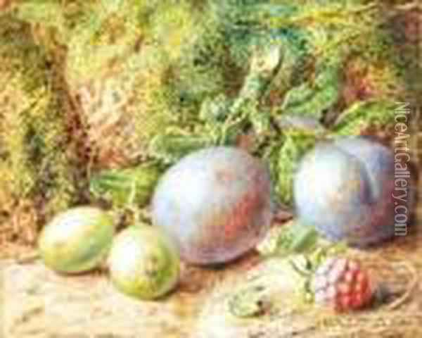 Fruit On A Mossy Bank Oil Painting - Vincent Clare