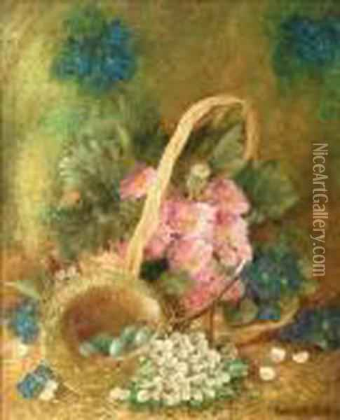 A Still Life Offlowers In A Basket And A Nest Of Eggs Oil Painting - Vincent Clare