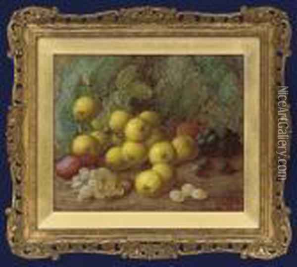 Greengages, Plums And Grapes On A Mossy Bank Oil Painting - Vincent Clare