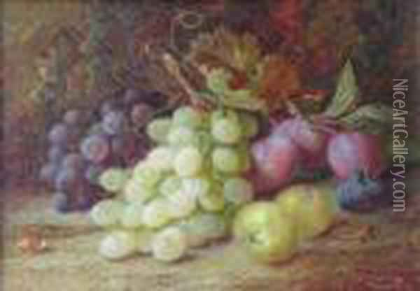 A Still Life With Grapesplums And Apples On Mossy Bank Oil Painting - Vincent Clare