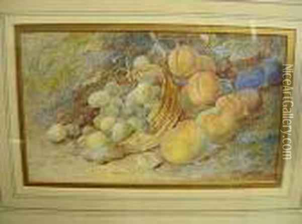 Watercolour, Stilllife Peaches, Plums And Grapes In A Basket Oil Painting - Vincent Clare