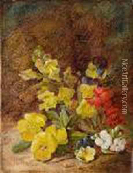 Primroses On A Bank Oil Painting - Vincent Clare
