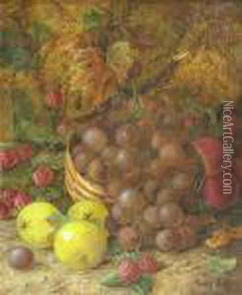 Still Life With Raspberries And Grapes Oil Painting - Vincent Clare