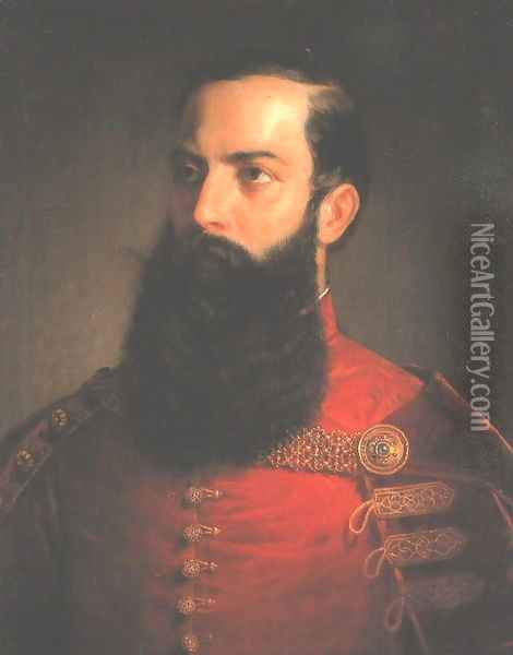 A Hungarian Nobleman c. 1850 Oil Painting - Mihaly Kovacs