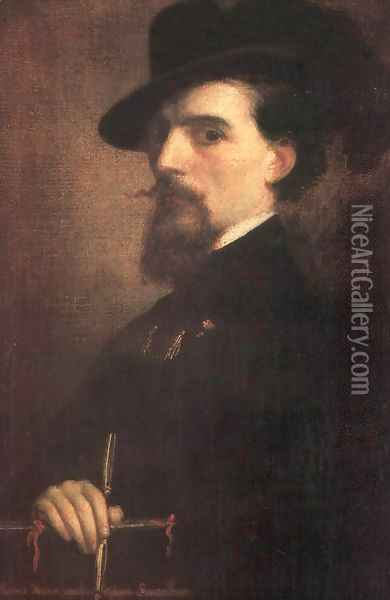 Self-portrait with Kossuth-hat 1850 Oil Painting - Mihaly Kovacs