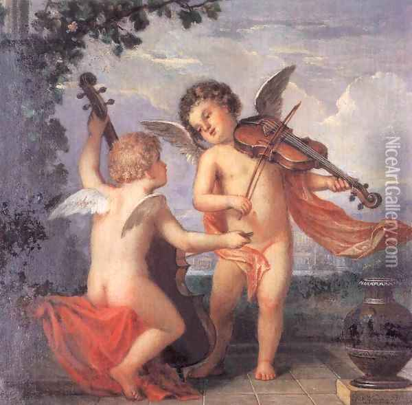Putti Playing Music sketch c. 1884 Oil Painting - Mihaly Kovacs