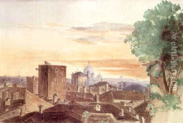 Rome at Dusk 1843 Oil Painting - Mihaly Kovacs