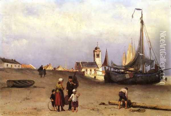 Fisher Folk and Beach Bomschuiten, near Katwijk Oil Painting - Johannes Hermanus Koekkoek Snr