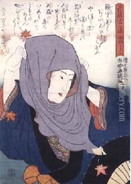 Girl amid autumn leaves from Lucky Days Oil Painting - Utagawa Kunisada