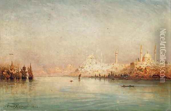 On the Golden Horn before the Sulemymaniye Mosque, Istanbul Oil Painting - Ernst Carl Eugen Koerner
