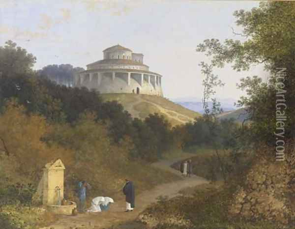 An extensive landscape with peasants and a priest by a fountain, a circular basilica on a hill beyond Oil Painting - Joseph Augustus Knip