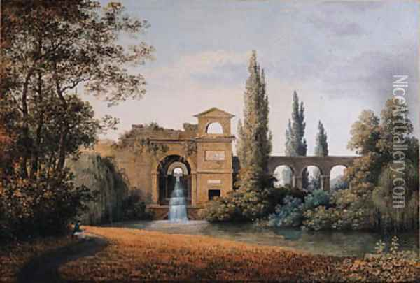 A View of an Aqueduct with an artificial Waterfall, a seated draughtsman in the foreground Oil Painting - Joseph Augustus Knip