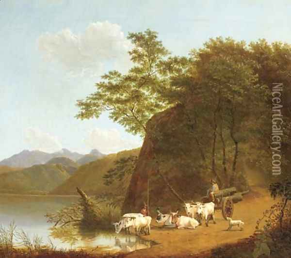 Oxen resting by the lakeside, Italy Oil Painting - Joseph Augustus Knip