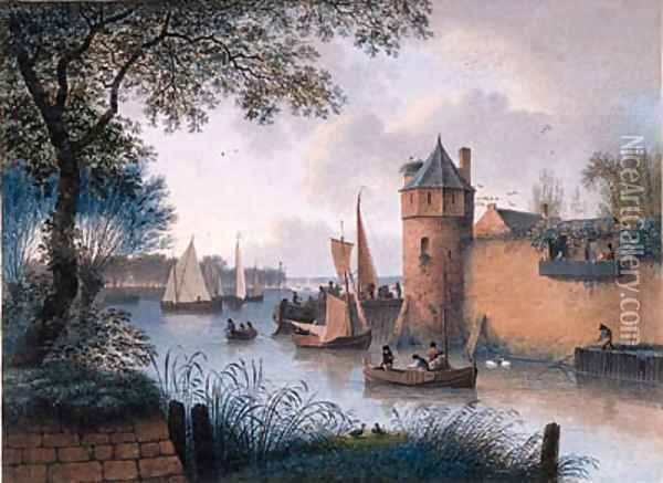 A Town Wall with a Jetty by a Tower at an Estuary and Fishermen mooring, elegant company looking on from a balcony Oil Painting - Joseph Augustus Knip